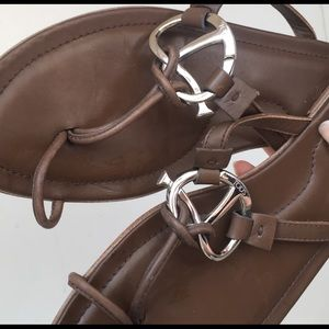 Tod's Leather Slide Sandals w Silver Knot Detail